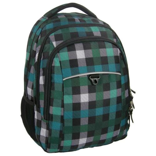Unique Collection iskolatáska, hátizsák - Zöld kockás (PLM17D26)