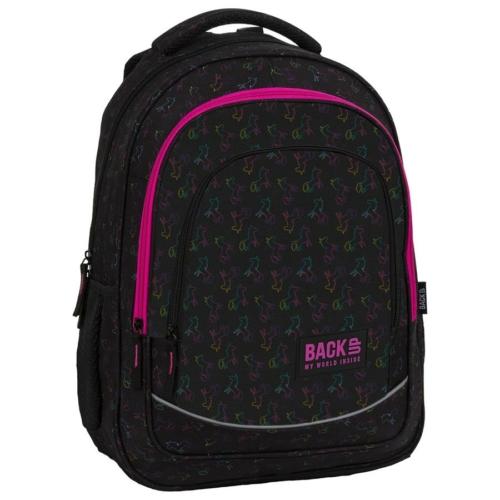 BackUp lovas iskolatáska, hátizsák - 3 rekeszes - Rainbow Horse