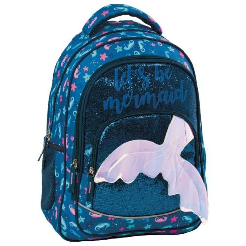 BackUp Sellő iskolatáska, hátizsák - 3 rekeszes - Csillámos