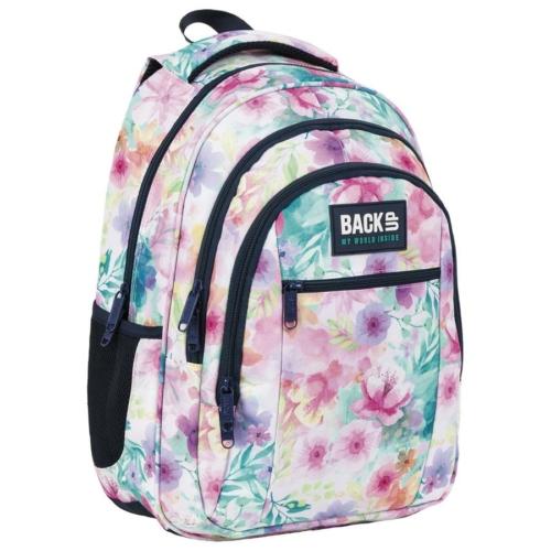 BackUp virágos iskolatáska, hátizsák mellpánttal - 3 rekeszes - Tavasz