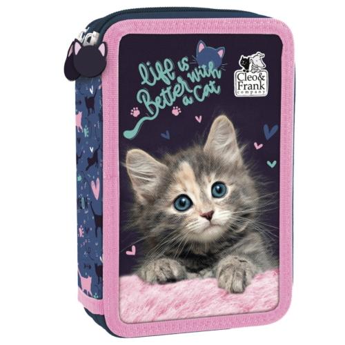 Cleo és Frank cicás felszerelt emeletes tolltartó - Life is better with a cat