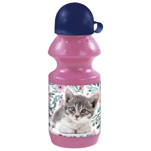 Cleo és Frank cicás műanyag kulacs kupakkal - Cicás-virágos