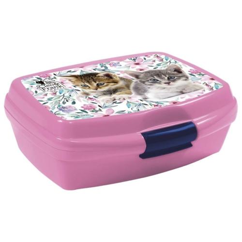 Cleo és Frank cicás műanyag uzsonnás doboz - Cicás-virágos
