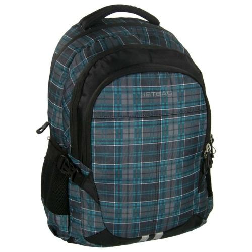Jetbag iskolatáska, hátizsák - 3 rekeszes - Kék kockás