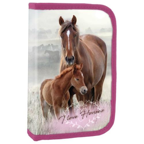 Lovas felszerelt tolltartó - I love horses - Virágos