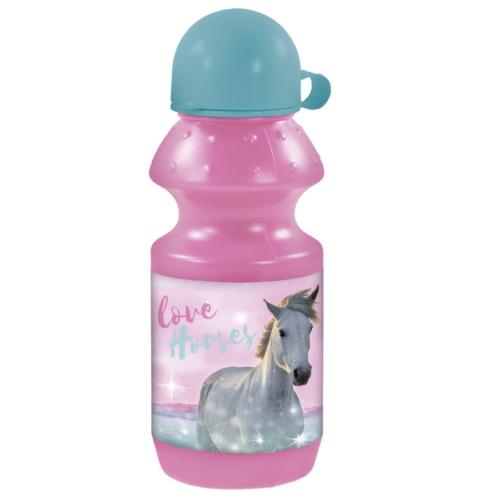 Lovas műanyag kulacs kupakkal - I love horses - Rózsaszín