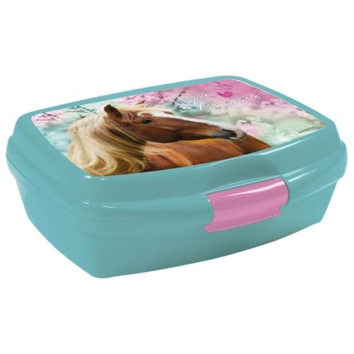 Lovas műanyag uzsonnás doboz - I love horses - Kék-rózsaszín