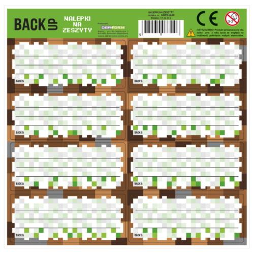 Backup - Minecraft 8 db-os füzetcímke - többféle
