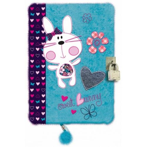 Sweet Bunny Blue plüss kulcsos napló - A5/96 lap (203459)