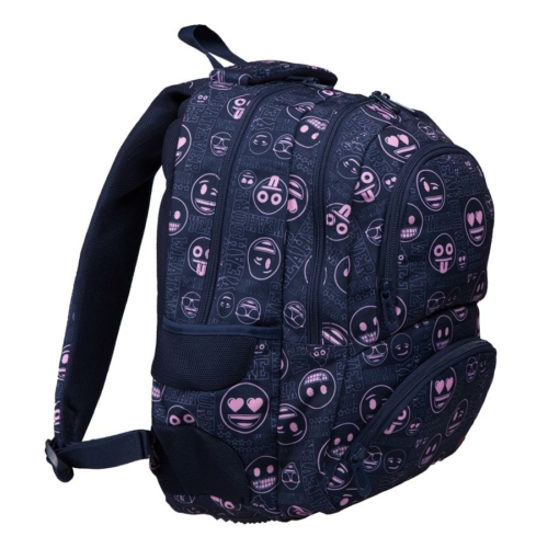 Emoji hátizsák, iskolatáska - 4 rekeszes - Pink (207334)