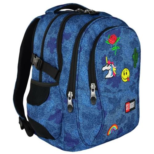 St.Right - Jeans and Badges hátizsák, iskolatáska - 4 rekeszes (618727)