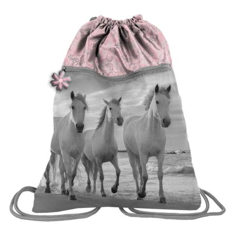 Lovas zsinóros hátizsák, tornazsák - Virágos