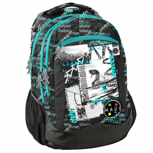 Maui and Sons iskolatáska, hátizsák - 3 rekeszes - fekete-zöld (MAUB-2808)