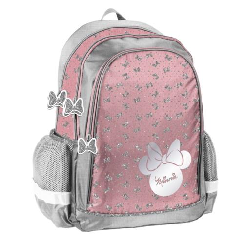 Minnie Mouse hátizsák, iskolatáska - 3 rekeszes - Csillámos masnik (DMNN-081)