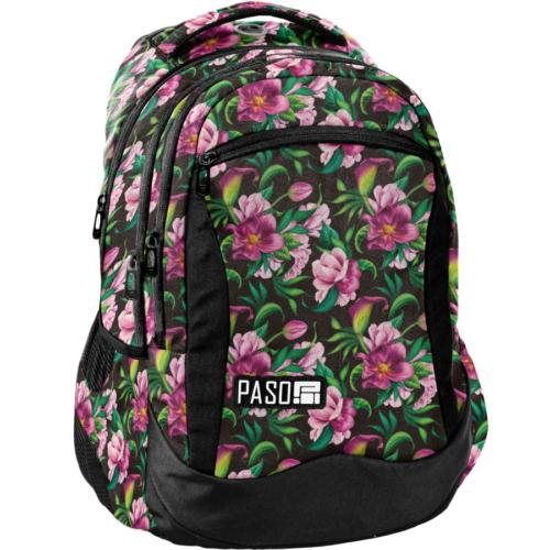 Virágos iskolatáska, hátizsák - 3 rekeszes - Nagy virágok (PPLK19-2808)
