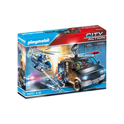 Playmobil - City Action - Rendőrségi helikopter - Menekülő autós nyomában játékszett