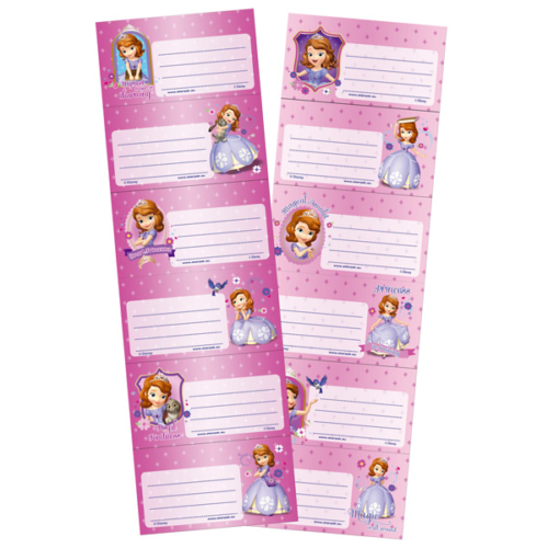 Szófia hercegnő 6 db-os füzetcímke (322470)