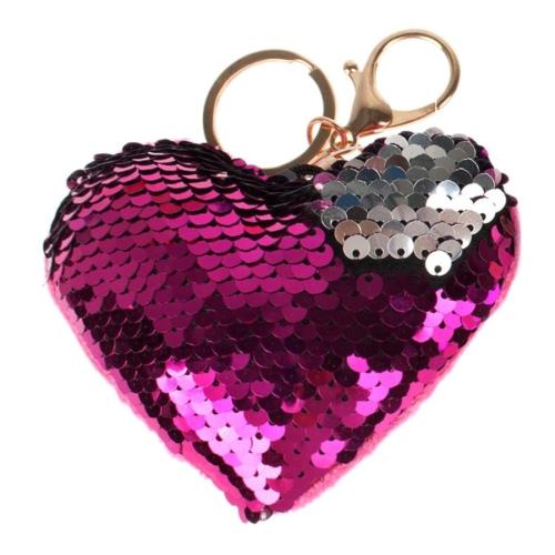 Dupla flitteres szív alakú kulcstartó - sötét pink (422395)