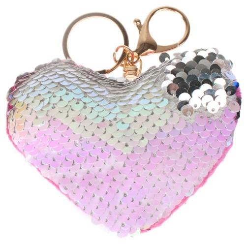 Dupla flitteres szív alakú kulcstartó - világos pink (422396)