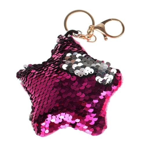 Dupla flitteres csillag alakú kulcstartó - sötét pink (422398)