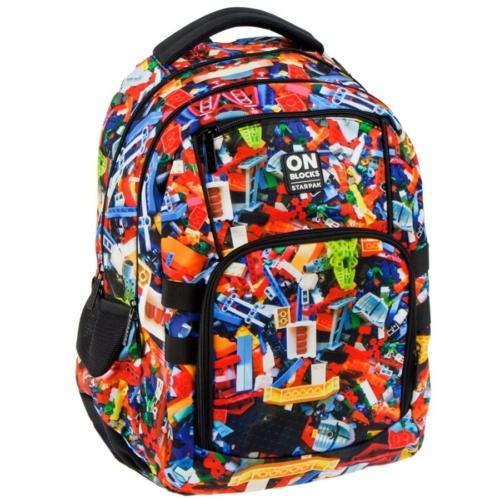Építőkockás ergonomikus hátizsák, iskolatáska - mellpánttal - On Blocks
