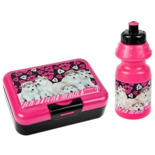 Kutyás uzsonnás doboz kulaccsal - Pink-fekete