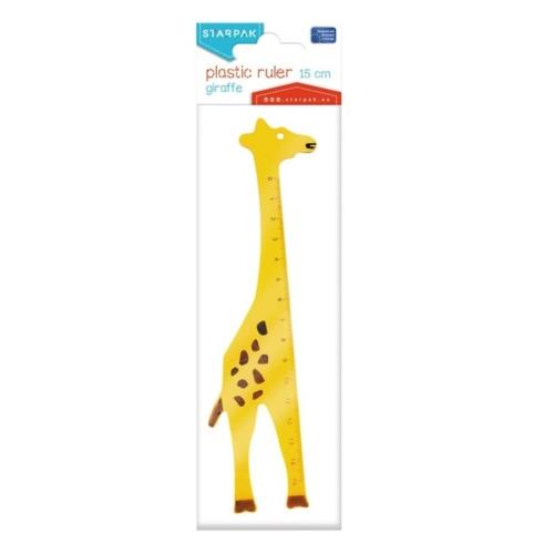 Zsiráf formájú műanyag vonalzó - 15 cm