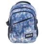 Kép 2/5 - BackUp iskolatáska, hátizsák - 3 rekeszes - Kék-lila virágok (PLB1G44)