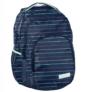 Kép 1/3 - Színes csíkos mintás hátizsák, iskolatáska - 3 rekeszes - Kék (PPMY19-2706)