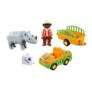 Kép 3/5 - Playmobil 1.2.3 - Állatkerti autó orrszarvúval játékszett